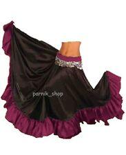 PR Satin Full Circle Skirt Swing Belly Dance Gypsy Flamenco Ruffle Tribal Jupe