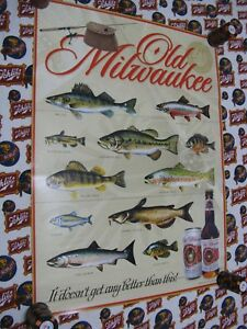 NEW VTG 2004 OLD MILWAUKEE BEER FISH SPECIES IN MOTION SIGN FISHING POSTER COOL
