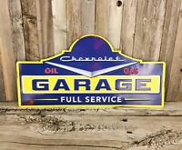 "Chevrolet Chevy Garage Full Service Gas 18"" Large Embossed Metal Tin Sign New"