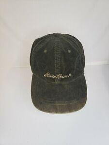 Eddie Bauer Baseball Cap Corduroy Hat Green Adjustable VTG Sun Damage