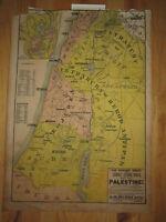 "VTG. PEERLESS SUNDAY SCHOOL MAP #1 ""PALESTINE""-  24"" X 17""- HEAVY LINEN PAPER"