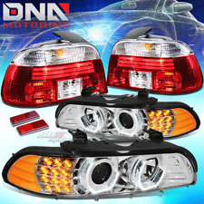 FOR E39 BMW 5-SERIES 4DR CHROME HALO PROJECTOR HEADLIGHT+LED CORNER+TAIL LAMP