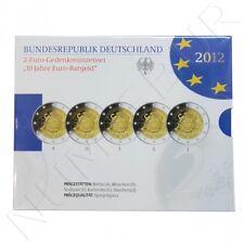 ALEMANIA: Set oficial 2 euro 2012 las 5 cecas 10º aniversario del euro
