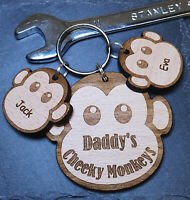 PERSONALISED FATHERS DAY CHRISTMAS GIFT WOODEN KEYRING MONKEY DAD DADDY BIRTHDAY