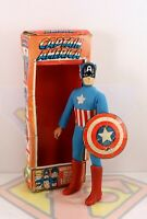 "Vintage Mego Captain America ~8"" Type 1 Action Figure, Original Shield & Box"