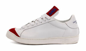 KITON KNT SNEAKERS SHOES white red calfskin leather luxury Italy 42 us 9