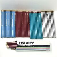 Vtg HUGE Unused BEROL Pencil Lot, Sky Blue, Carmine Red, Turquoise, & Silver