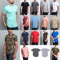 Victorious Men's Hipster Solid Color Long Length Curved Hem T-Shirt   TS270-K21A
