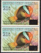 PNG  1994 Overprints  21t on 35t Tomato Clown Fish Mnh PAIR
