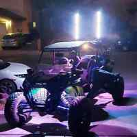 FIA 3FT LED Whip light 8 Pods Under Car Glowing Rock Light Strobe Car ATV JEEP