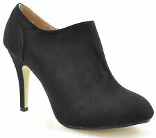 Ladies Womens Faux Suede High Heel Ankle Boots Shoes Zip Cream Black Sexy Size