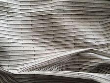 NOBILIS Horizontal Stripe Chenille cotton grey warm white soft texture 2+ yards
