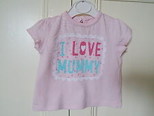 """F&F BABY GIRLS PINK TOP WITH """"I LOVE MUMMY""""  ON FRONT 3-6 M 100% COTTON"""
