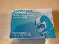 Honda CBR 900 RR Fire BladeMX BR Fahrerhandbuch mit Schaltplan