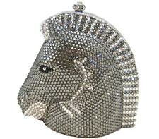 Anthony David Silver & Pewter Gray Crystal Horse Evening Bag