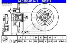 ATE Disco de freno x2 Trasero 240mm para RENAULT MEGANE BMW Serie 5