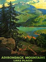 Travel Tourism Adirondack Mountains Lake Placid USA Tree Canvas Print