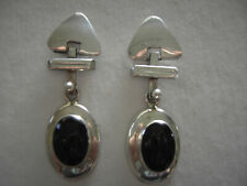 Post Earrings Made in Mexico Sterling Silver and Black Onyx Hinged