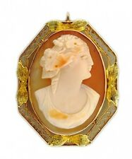 Estate Filagree Hand Carved Shell Cameo Filigree Rose & Green Gold Pin