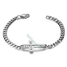 """7.5"""" Classic Stainless Steel Cross Shape w/ Rhinestone Women's Bracelet Chain"""