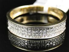 Mens 10K Yellow Gold Genuine Diamond Pave Wedding Engagement Band Ring .23 Ct