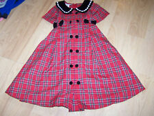 Girls Size 5 Bonnie Jean Christmas Holiday Dress Red Black Plaid Velour Trim EUC