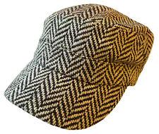 Cadet Box Cap Wool Army Military Fashion Castro Plaid Hat Cap