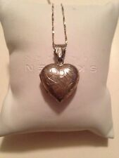 Vintage Sterling Silver Etched Heart Locket Pendant Necklace