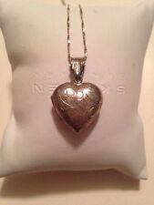Vintage Sterling Silver Etched Heart Locket Pendant Necklace