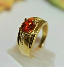 Damen Herren Ring Gold 18 K GF (750pl) Rubin Granat rot Zirkon Gr. 66 Ø 21,0mm