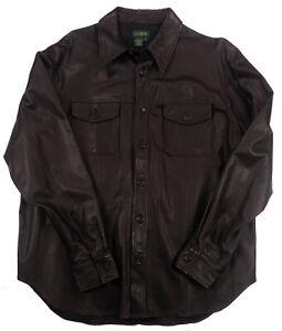 J CREW Black LEATHER Dress Shirt Pockets Large motorcycle wedding