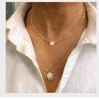 2020 Women Multi-layer Long Chain Crystal Pendant Choker Necklace Jewelry Gift