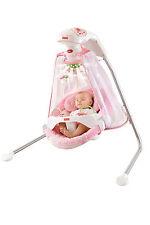 NewBorn Child Baby Nap Six Speeds Papasan Cradle Swing Butterfly Garden Pink New