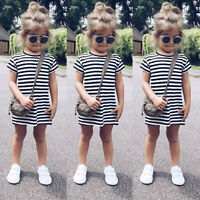 Baby Kid Girl Casual Short Sleeve Party Striped Princess T-shirt Dresses Clothes