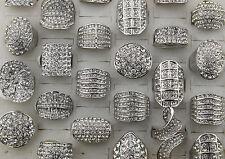 Bulk Lots 15pcs Womens Jewelry Silver Full Rhinestone Crystal Huge Ring Charm