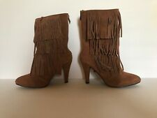 Catherine Catherine Malandrino  Womens Fringe Boots Brown Chestnut Suede Size 7