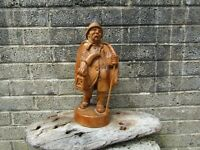 Old antique carved wooden figure - Large Dutch? Fireman? hand carved 15'' tall