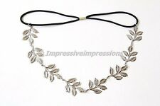 BOHEMIAN SILVER METAL LEAF OLIVE LAUREL ELASTIC STRETCH HEADBAND GREEK