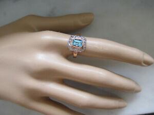 14k Yellow Gold 7x5mm Natural Blue Aquamarine Ring