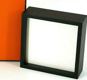 Authentic HERMES Black Wood Square Picture Frame Photo Frame w/box