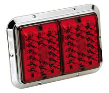 Bargman 84 85 LED Surface Mount Double Tail Light Red/Red Chrome Base Trailer RV