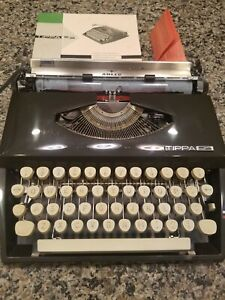 Vintage 1960's Adler Tippa S Portable Typewriter With Manual Made in Holland VGC