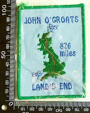 VINTAGE JOHN O'GROATS SCOTLAND EMBROIDERED SOUVENIR PATCH WOVEN CLOTH SEW BADGE
