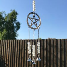 NEW PENTAGRAM WIND CHIME METAL DECORATIVE WALL HANGING GARDEN HOME GOTHIC