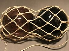 Vintage Amethyst And Smokey Blue Double Ball Float Netted Fishing Boat Net