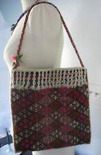 Hand Woven Wool Purse Boho Shoulder Bag Tote Satchel Vintage 1960s Colorful