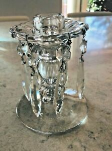 VINTAGE GLASS/CRYSTAL CANDLE HOLDER WITH 6 PRISMS