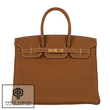 GOLD CAMEL BROWN HERMES 35CM BIRKIN BAG TOGO LEATHER GOLD GHW BNIB