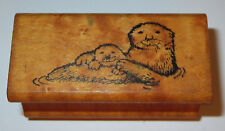 Sea Otters Rubber Stamp Vintage All Night Media Water Animals Swimming