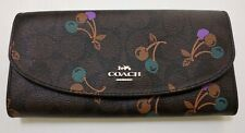NWT Coach Cherry Cherries Signature Slim Envelope Checkbook Wallet F31562 Brown